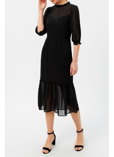Random Kadın Volan Detaylı Puantiyeli Elbise Siyah